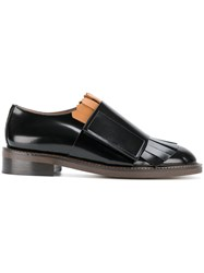 Marni Fringe Strap Loafers Women Leather Rubber 35.5 Black