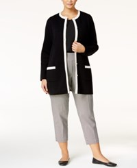 Charter Club Plus Size Contrast Trim Cardigan Only At Macy's Deep Black Combo