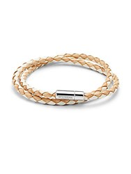 Tateossian Sterling Silver And Leather Bracelet White Tan