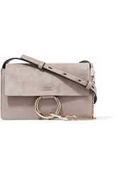 Chloe Faye Small Leather And Suede Shoulder Bag Mushroom