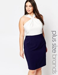 Paper Dolls Plus Knot Front Pencil Dress With Neck Detail Navy