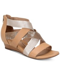 Sofft Rosaria Mixed Media Wedge Sandals Women's Shoes Sand Ivory Cork