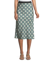 Theory Printed Silk Knee Length Slip Skirt Multi