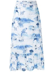 Isolda Morere Midi Skirt Blue