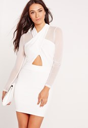 Missguided Long Sleeve Mesh Wrap Bodycon Dress White White