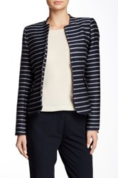 Dex Mandarin Collar Striped Blazer Blue