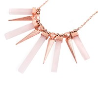Ona Chan Dagger And Stone Pendant Necklace Rose Quartz Rose Gold