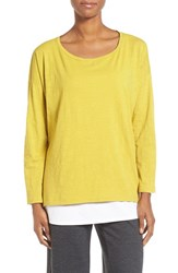 Eileen Fisher Women's Slub Jersey Ballet Neck Top Fern