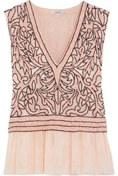 Ganni Fluted Sequin Embellished Tulle Top Blush