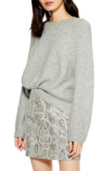 Topshop Crewneck Sweater Grey Marl