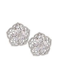 Adriana Orsini Magnolia Crystal Flower Clip On Earrings Silver