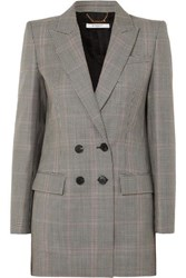 Givenchy Double Breasted Houndstooth Wool Blend Blazer Black