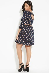 Forever 21 Plus Size Belted Fox Print Dress Navy Brown