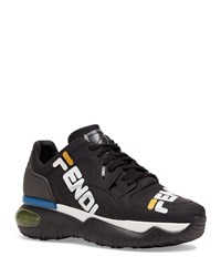 Fendi Mania Logo Print Leather Dad Sneakers White