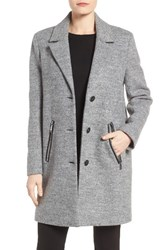 Calvin Klein Women's Boucle Walking Coat Light Grey