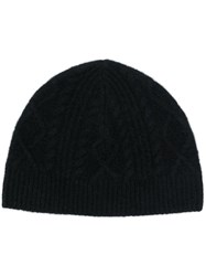 Pringle Of Scotland Cable Knit Beanie Black