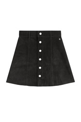 Alexa Chung For Ag The Gove Suede Skirt Black
