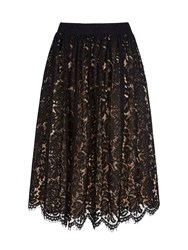 Yumi Midi Length Lace Skirt Black