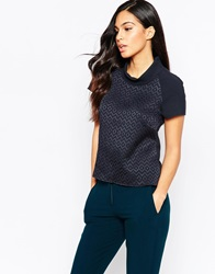 Closet High Neck Top Navy