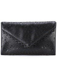 Azzedine Alaia Laser Cut Envelope Clutch Black