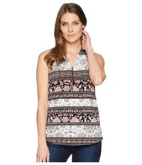 Ivanka Trump Sleeveless Printed Top With Open Hem Black Blush Clothing