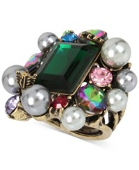 Betsey Johnson Brass Tone Green Stone Imitation Pearl And Crystal Cluster Ring Multi