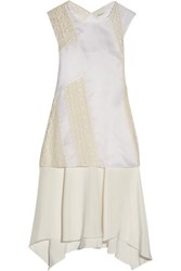 3.1 Phillip Lim Draped Embroidered Silk Chiffon Dress Ivory