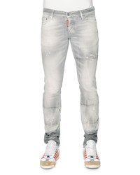 Dsquared2 Slim Fit Distressed Denim Jeans Light Gray Size 54 Lt Grey