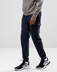 Asos Standard Fit Joggers With Cargo Pockets In Navy Navy Blue