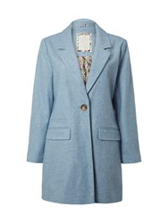 White Stuff Alexa Single Breasted Coat Blue