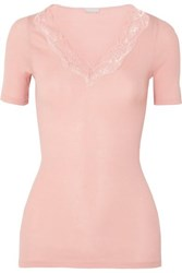 Hanro Lace Trimmed Ribbed Cotton Jersey Top Blush