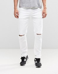 Asos Stretch Slim Jeans With Knee Rips In White White