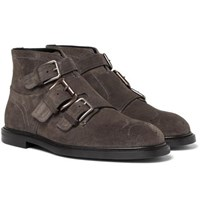 Dolce And Gabbana Buckled Suede Boots Gray