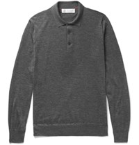 Brunello Cucinelli Contrast Tipped Cashmere And Silk Blend Polo Shirt Charcoal