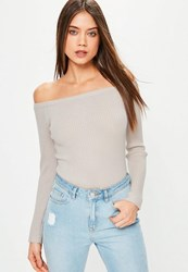 Missguided Grey Long Sleeve Ribbed Bardot Knitted Bodysuit Stone
