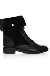 Diane Von Furstenberg Alexia Too Textured Leather Suede And Shearling Ankle Boots