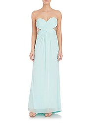 Olivia Harris Strapless Crystal Detail Gown Mint