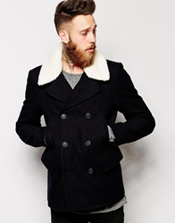 Asos Wool Peacoat With Borg Collar Navy