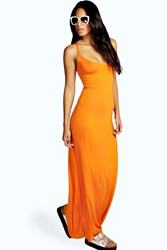 Boohoo Strappy Cross Over Back Maxi Dress Coral