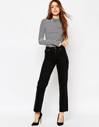 Asos Authentic Straight Leg Jeans In Washed Black Washedblack