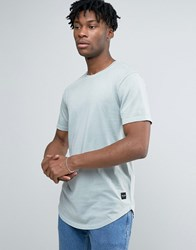 Only And Sons Longline T Shirt With Curved Hem Pigeon Green