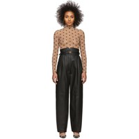Fendi Black Leather High Waisted Belted Trousers