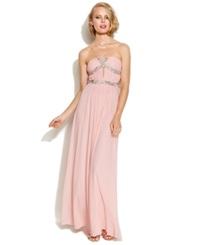 Hailey Logan By Adrianna Papell Juniors' Sequin Trim Cutout Gown Petal
