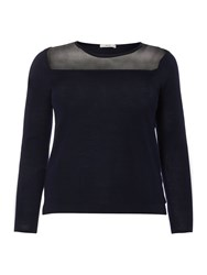 Persona Plus Size Antilope Mesh Panel Knitted Top Navy