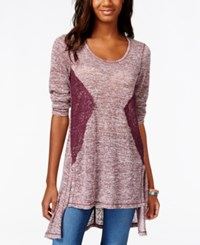 Eyeshadow Juniors' Lace Trim High Low Tunic Top