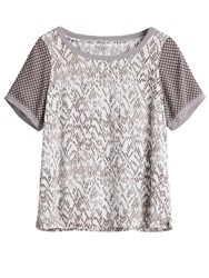 Sandwich Chevron Print Top White