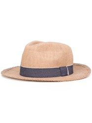 Eleventy Woven Bowler Hat Nude Neutrals