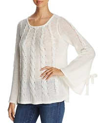 Design History Openwork Cable Knit Bell Sleeve Sweater Pearl