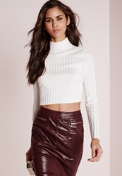Missguided Long Sleeve Turtle Neck Knitted Crop Jumper White White