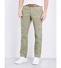 Polo Ralph Lauren Distressed Cotton Trousers Slate Green